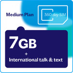Lebara Unlimited 7GB/30 Days Medium 360 Day Prepaid Plan (with Unlimited Calls to 15 Countries) $178
