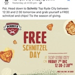 [NSW] Free Schnitzel and Chips from 12.30pm-2.30pm Today (7/12) For First 500 People @ Schnitz (Top Ryde)