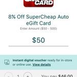[Suncorp Benefits] 8% off Supercheap Auto eGift Card @ Suncorp via App