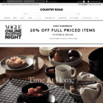20% off Full Priced Items and 40% off Sale Items @ Country Road