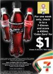 Coke Zero, Coke, Diet Coke (450ml) for Only $1 at 7-11! (Facebook Checkin)
