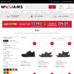 Up to 70% off Selected Styles, 20% off Clarks & Colorado Shoes, 50% off Second Pair of School Shoes @ Williams Shoes