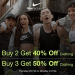 [NSW, QLD, VIC, ACT] Buy 2 Get 40% off Clothing, Or Buy 3 Get 50% off Clothing @ Nike Factory Stores