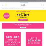 50% Off Selected Notebooks + Journals, 40% off Planners, Cards, Wraps + Trim 30% Off Bags + More @ Kikki.k