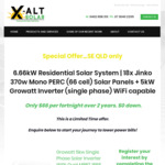 [QLD] 6.66kw Jinko 370w Panels + 5kw Growatt Inverter Fully Installed from $66/Fortnight @ X Alt Solar