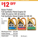 Nulon Protect Full Synthetic Petrol Oil 5L 5W30 10W40 & Diesel 5L 5W30 $31.99 @ Costco (Membership Required)