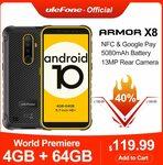 Ulefone Armor X8 Rugged4GB 64GB Waterproof Smartphone US$132 (A$185) @ Ulefone via Aliexpress