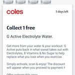 1 Free Bottle of Gatorade G Active Electrolyte Water @ Coles with flybuys App Activation