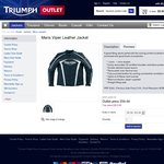 Triumph Leather Motorcycle Jacket - RRP $400 - $77 + $23 Shipping