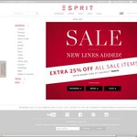 Esprit Online Store - Extra 25% off Sale - ENDS SUNDAY Promo Code: TAKE25