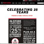 Foot Locker 25% Off Instore + Additional 5% Off for Members