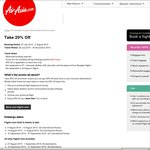 AirAsia 20% Off  base fares  Booking 27 July- 2 August, Travel Period: 28 July - 30 November