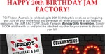 20% off TGI Fridays Jam Factory (Melbourne) on 30th November, 2015