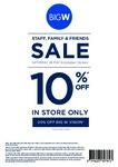 10% off Storewide (Excludes Apple, Consoles + Others) & 20% off Vision @ Big W (Family & Friends, 28-29 May)
