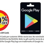 20% off Google Play Gift Cards @ Coles