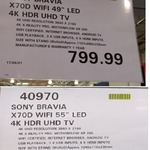 "Sony KD55X7000D 55"" 4K UHD TV $999.99, KD49X7000D 49"" 4K UHD TV $799.99 @ Costco (Membership Required)"