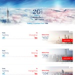 Sydney to Shanghai Return $450, Beijing $396 Tokyo $676 Via China Southern