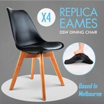 50% off 4x Replica Eames Eiffel DSW  $80 Dining Chair Padded $120 Office Cafe Kitchen @ Gold Cart
