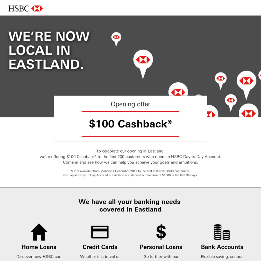 Get $100 Cash Back for Opening HSBC Day to Day Account