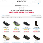 Flash Sale - 60% off Selected Styles @ CROCS