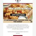 KFC: 15 Wicked Wings for $10 (App Only)