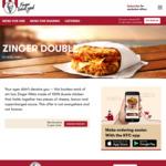 Zinger Double Bunless Burger $8.95 @ KFC