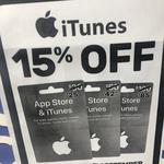 15% off iTunes Gift Cards ($30, $50 & $100) @ EB Games