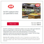 Westpac Extra Cashback - Get $10 Cashback When You Spend $35 or More @ IGA