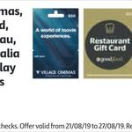 10% off Selected Gift Cards (Google Play / Catch.com.au / Virgin Australia / Event Cinemas / Good Food) @ Coles