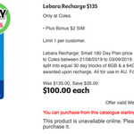 Lebara Mobile: 180 Day Plan (100GB, Unlimited to 20 Countries) $100 @ Coles (Normally $135)