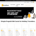25% off - All Travel SIM Cards - Europe, USA, NZ, Japan, Asia & More from $21.75 + Free Shipping @ SimsDirect Sydney