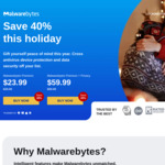 25% off Malwarebytes Premium - 1 Year Subscription A$35.99, (Was $59.99), 2 Years for A$71.98 (Was $119.98)