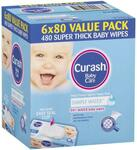 Curash Water Baby Wipes 6x 80 Pk $16.79 C&C /+ Delivery ($0 with $50 Order) @ Chemist Warehouse