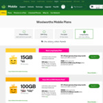 $10 off 365 Day Long Expiry Pre-Paid Phone Plan (Unlimited Call & Text, 100GB Data) $140 @ Woolworths Mobile (Online Only)