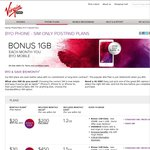 Virgin Mobile. Extra 1GB Data with $20 BYO Plan