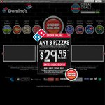 Domino's Any 3 Pizzas, 2 1.25l Drinks and 2 Garlic Breads $33 Delivered