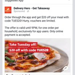 $20 Delivery Hero Voucher - Today Only (App Orders)