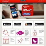8% off Using Mobile App Bookings @ Hotels.com
