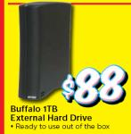 Buffalo 1TB External Hard Drive - $88 @ Retravision, O'connor WA (Sunday 20 June)