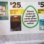 Bonus 10% Value on Gift Cards - iTunes, Google Play, Steam and League of Legends @ Woolworths 29/3