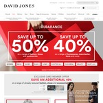 David Jones Clearance up to 50% off Fashion, 40% off Home + Extra 10% off for David Jones AmEx & Cardmembers (Today Only)