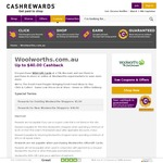 Woolworths $40 Cashback for New Customers Via Cashrewards ($100 Spend) or $5 Cashback for Current Cust ($50 Spend)
