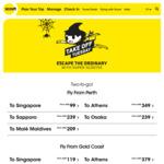 Scoot SYD/OOL-SIN $476 Return for 2 ($238 each) MEL-SIN $516 Return for 2  ($258 each)