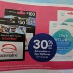 Big W - 30% off Adrenaline & Spa & Wellness Gift Cards, Google Home Mini $55