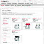 Kenwood kMix Bench Mixers: White, Red, Black / 1000W / 5 Litre - $314.10 Delivered (RRP $599)
