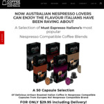 50 Nespresso Compatible Coffee Capsules (5 Blends) $19.95 Inc Postage @ Coffee Pod Shop