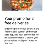 Free Delivery on Any Two Orders @ Uber Eats