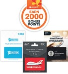 2000 Points on $100 Webjet, Ticketek, Restaurant Choice GC | 1000 Points on $50 Ultimate for Him, Kayo Sports @ Woolworths