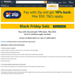 Pay with Zip and Get 10% Back (Max $50) @ Amazon AU
