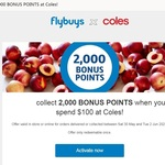 Collect 2000 Bonus Flybuys Points When You Spend $50-$100 in One Transaction at Coles